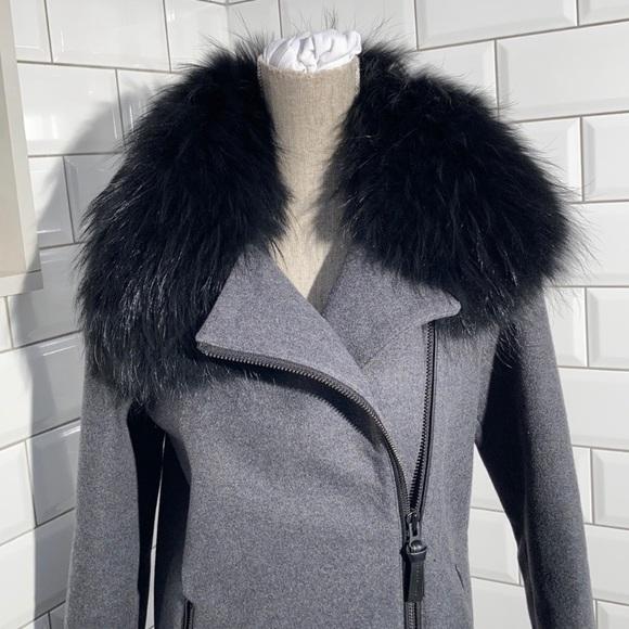 Mackage Wool Grey Coat Fur Collar
